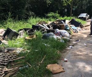 tires collected from district 5 quintette neighborhood cleanup on july 7