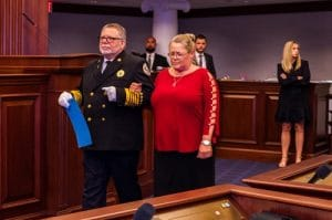 Cindy Diamond being escorted to accept the Career Firefighter of the Year honor