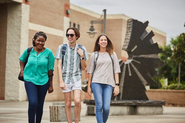 Students on the UWF Pensacola campus