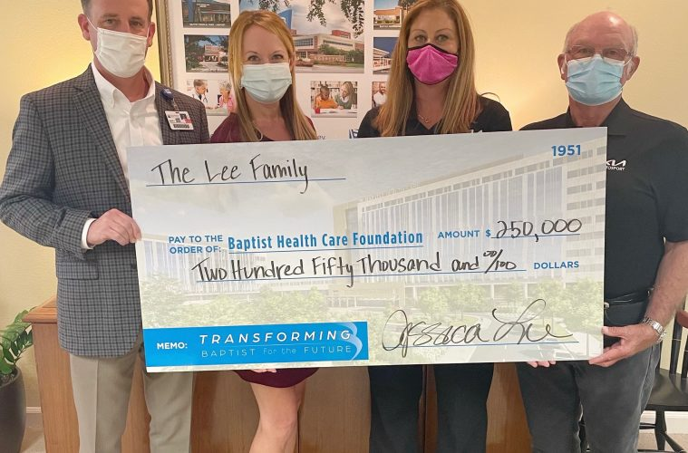 Pictured as a group in one image are: Mark Faulkner, BHC president and CEO; KC Gartman, chief development officer, Baptist Health Care Foundation; Jessica Lee; Monroe Lee.